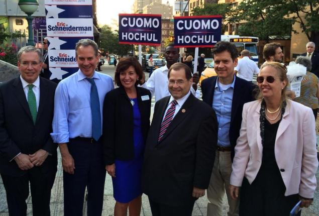Former Congresswoman Kathy Hochul and elected officials who have endorsed her run for lieutenant governor. (Photo: Office of State Sen. Brad Hoylman)