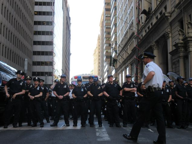 Members of the NYPD. (Photo: Will Bredderman for Observer).
