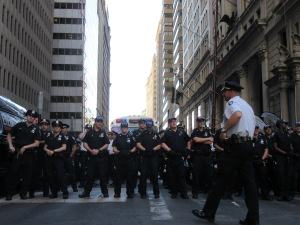 Dozens of officers surrounded the protest (Photo: Will Bredderman).