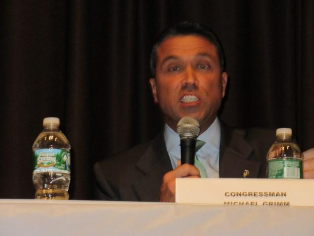 Michael Grimm at a debate in Bay Ridge (Photo: Will Bredderman).