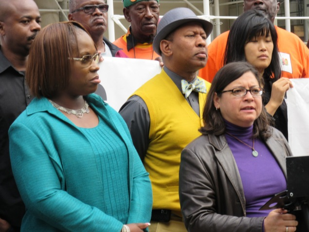 Vanessa Gibson, left, Andy King and Rosie Mendez of the Black, Latino and Asian Caucus were among the Council members at the rally (Photo: Will Bredderman).