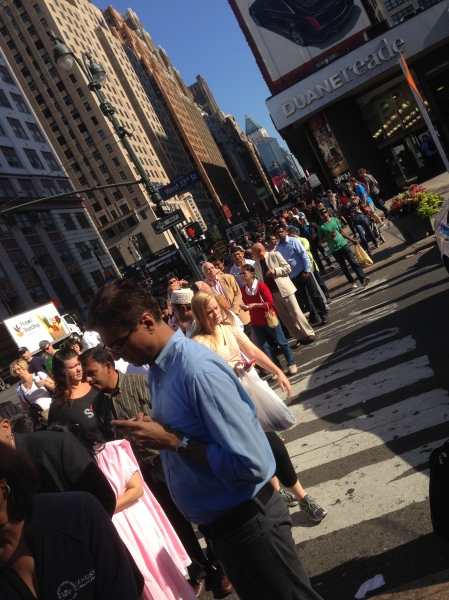 The line of attendees waiting outside MSG to see Prime Minister Modi stretched for more than a block.