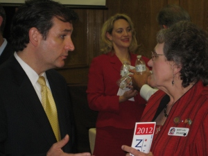 Then Senate candidate Ted Cruz speaks with an Israel supporter at Trinity MCC Church in Grand Prarie, TX, April 2012. (Photo: Ken Kurson)