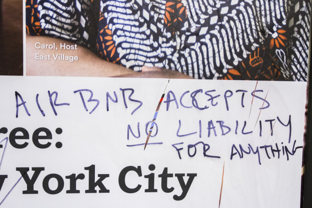 "The ads you see everywhere claim that ""New Yorkers support"" Airbnb. Some New Yorkers obviously don't like being spoken for. (Photo by Daniel Cole)"