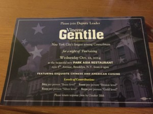 An invitation to Councilman Vincent Gentile's fund-raiser.