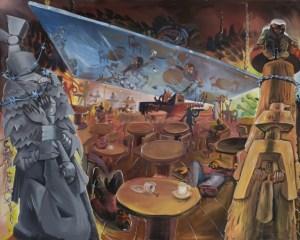 Café Deutschland VI – Caféprobe (Café Deutschland VI – Café-Rehearsal), (1980) by Jörg Immendorff