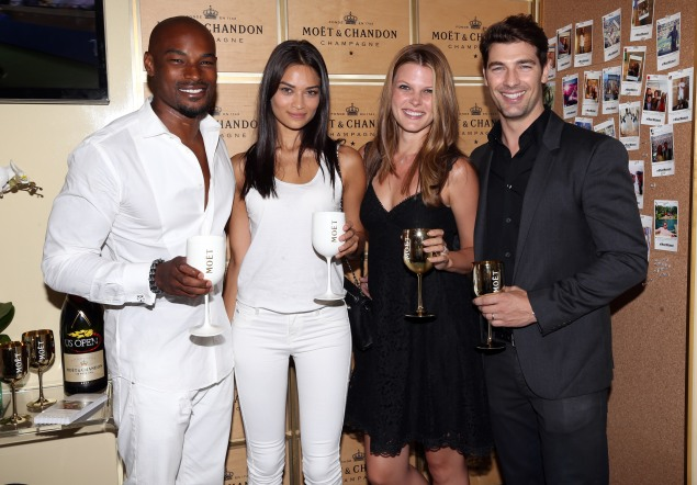 From Left: Tyson Beckford, Shanina Shaik, Bekah Jenkins and Cory Bond in the Moët suite. (Photo by Patrick McMullan)