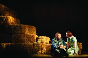 Mr. O'Down and Ms. Meester in a scene from Of Mice and Men.