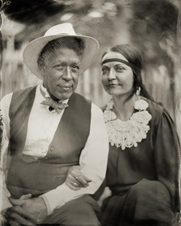 A tintype of artist Andres Serrano and his wife, taken at the Jazz Age Lawn Festival on Governor's Island, August 2014. (Courtesy  penumbrafoundation.org)
