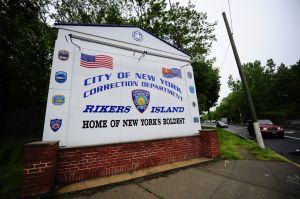 The entrance to Rikers Island.