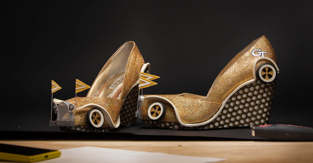 The shoes are 3D printed, laser cut and just about as adorably nerdy as you'd expect. (Photo via Georgia Tech)