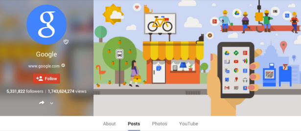 Google's own Google Plus page. (Google Plus)