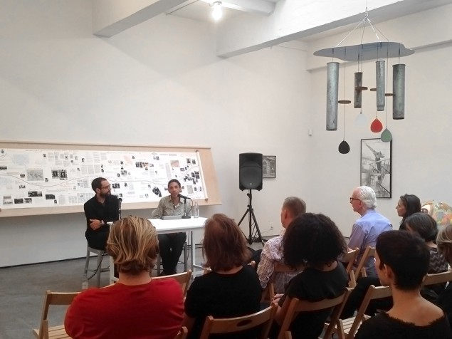 Sam Durant in conversation with Robin D. G. Kelley. (Courtesy Paula Cooper Gallery, New York)