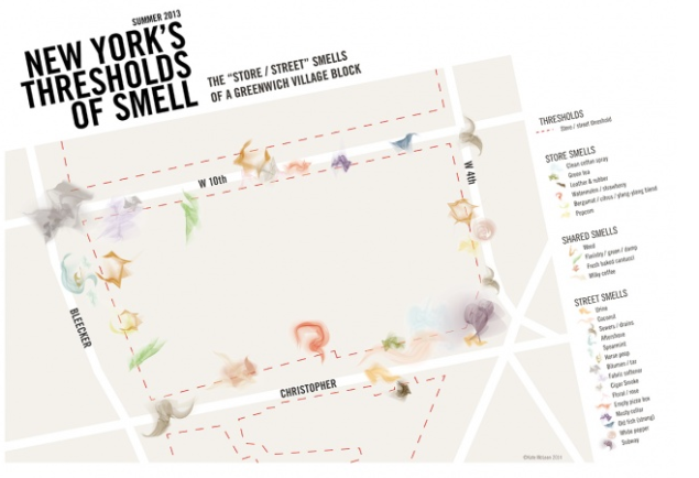 Kate McLean's Smellmap of  Greenwich Village.