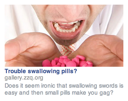 The first of many ads for this guy's sword-swallowing roommate. (Image via Brian Swichkow)