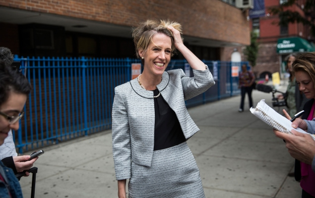 Zephyr Teachout this morning. (Photo by Andrew Burton/Getty Images)