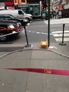 This metal pole hit two tour workers outside the M&M store and caused lots of headaches Wednesday morning