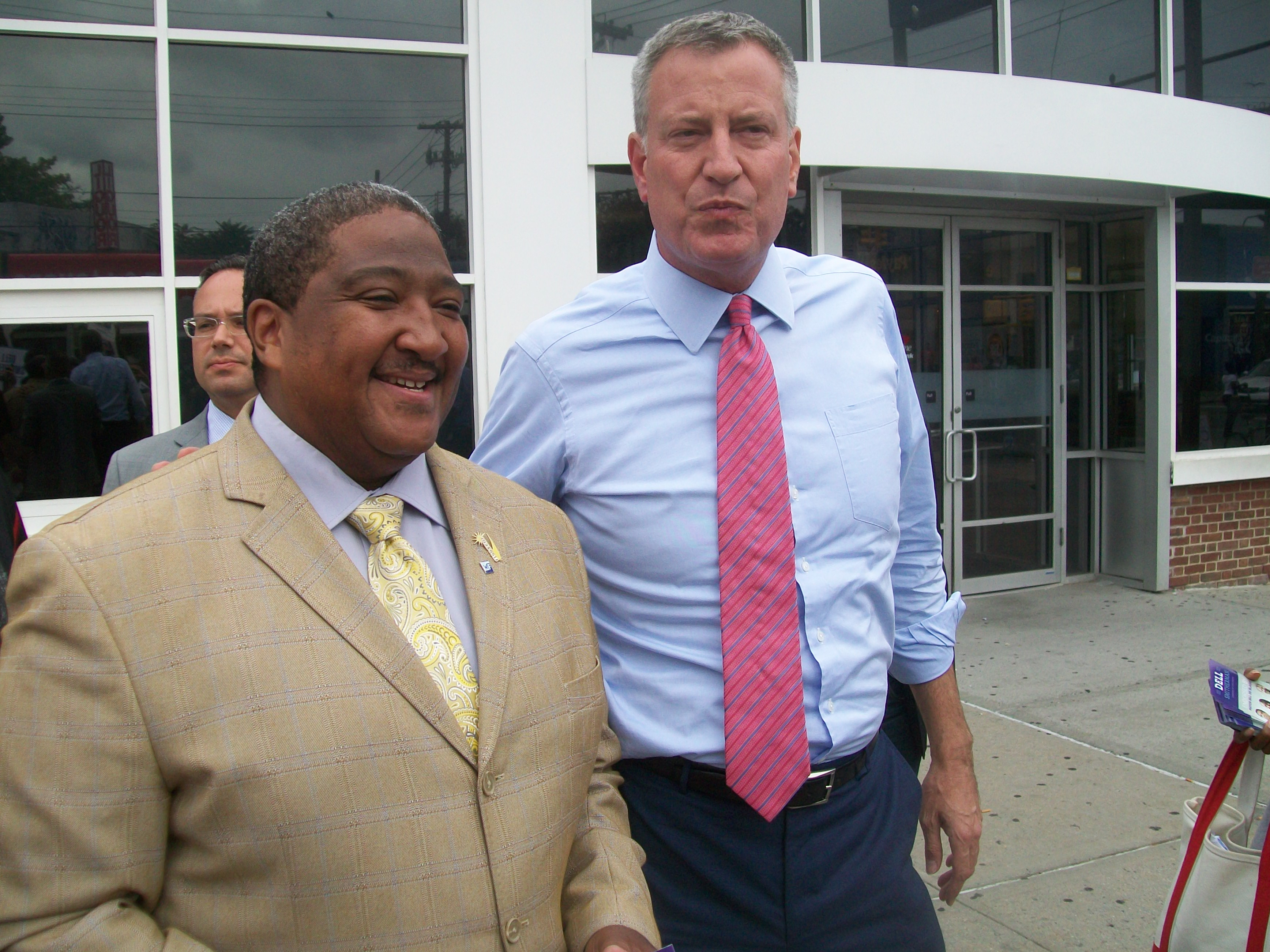 Mayor Bill de Blasio with a  candidate for State Senate in September. (Photo: Ross Barkan)