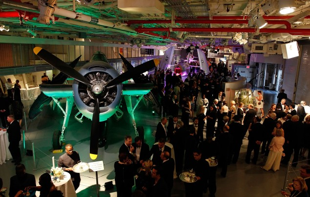 NEW YORK - MAY 26:  A general view of cocktail hour prior to the start of the Intrepid Salute Awards on May 26, 2011 at the Intrepid Sea, Air & Space Museum in New York City.  (Photo by Mike Stobe/Getty Images for NASCAR)