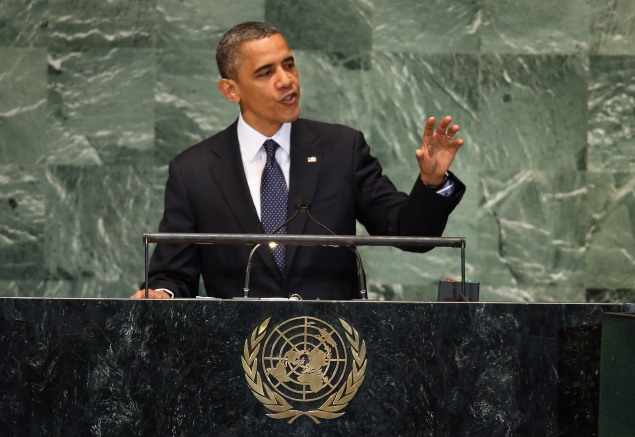 President Barack Obama addresses the UN General Assembly (Photo by John Moore/Getty Images)