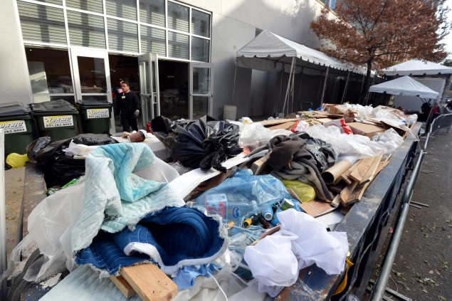 A dumpster outside the Dia Art Foundation filled with flood-damaged items. (