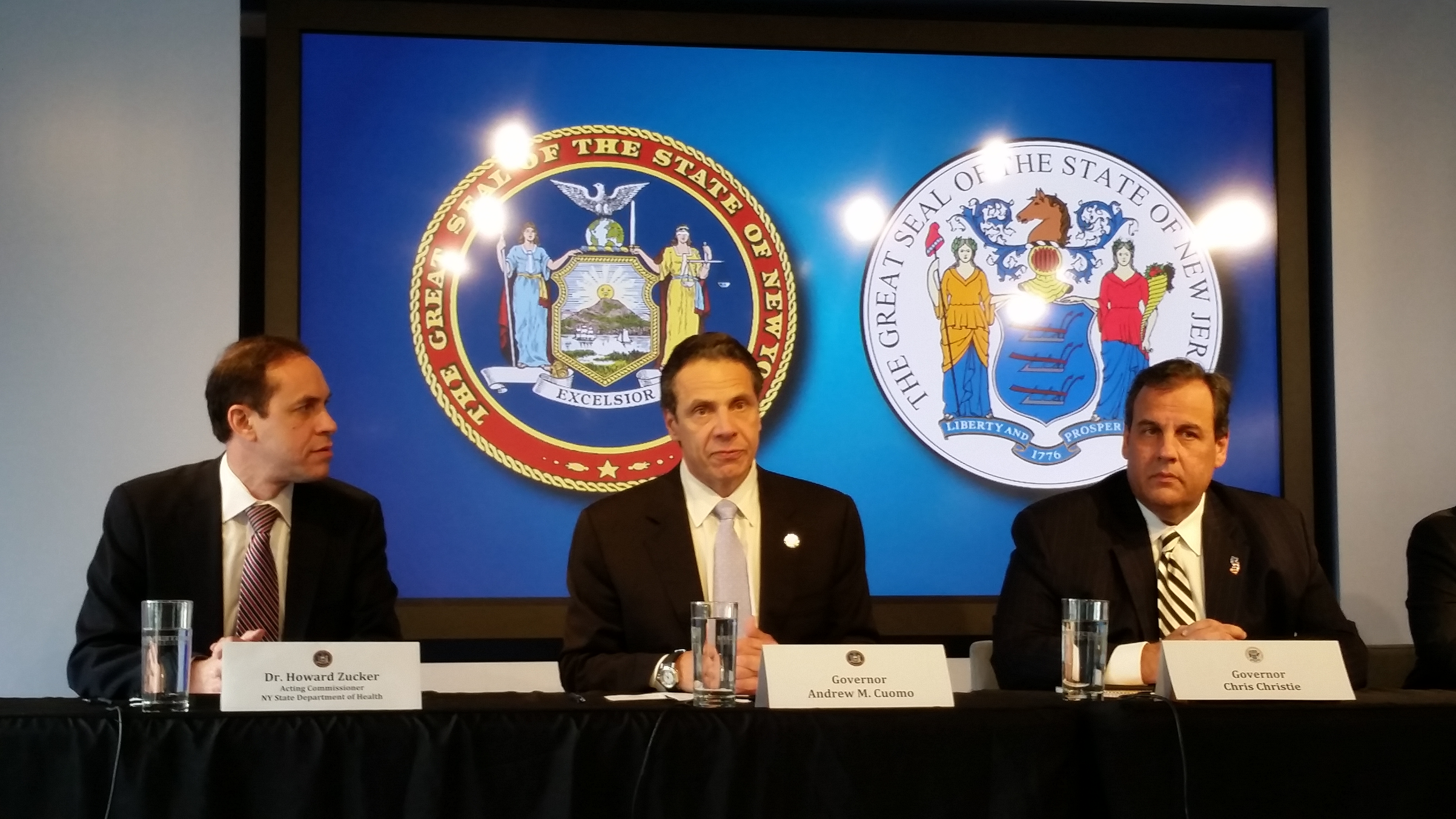 Gov. Andrew Cuomo with Gov. Chris Christie today. (Photo: Ross Barkan)
