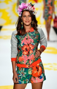 Bella Hadid in Desigual's spring and summer 2014 runway show at New York Fashion Week (Photo via Getty)