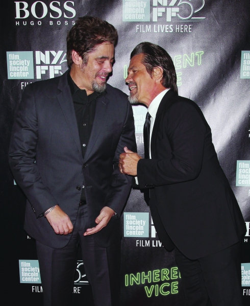 "Benicio del Toro and Josh Brolin attend the ""Inherent Vice"" Centerpiece Gala Presentation & World Premiere during the 52nd New York Film Festival at Alice Tully Hall on October 4, 2014 in New York City.  (Photo by Jim Spellman/WireImage)"