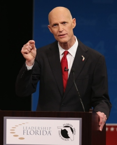 Rick Scott at Tuesday's debate. (Photo by Joe Raedle/Getty Images)