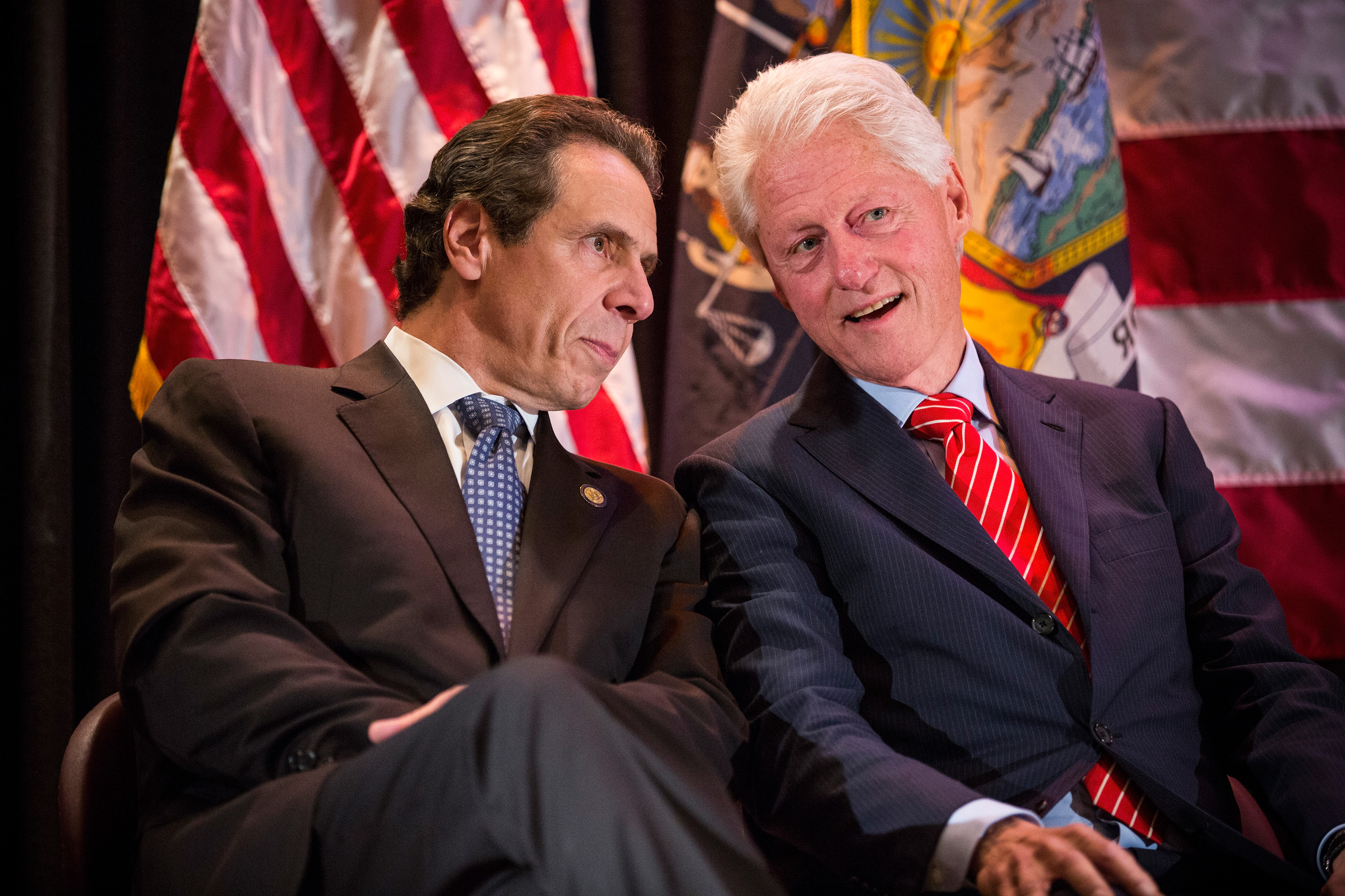 Former President Bill Clinton with Gov. Andrew Cuomo tonight. (Photo: Andrew Burton/Getty Images)