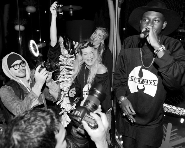 Alice Barlow, Jenne Lombardo, Sarah Robinson, Theophilus London at a performance during MADE Fashion Week in 2012. (Photo via Milk MADE)
