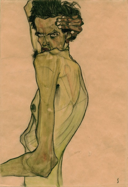 """Egon Schiele, """"Self-Portrait with Arm Twisted above Head,"""" 1910. (Courtesy Neue Galerie)"""