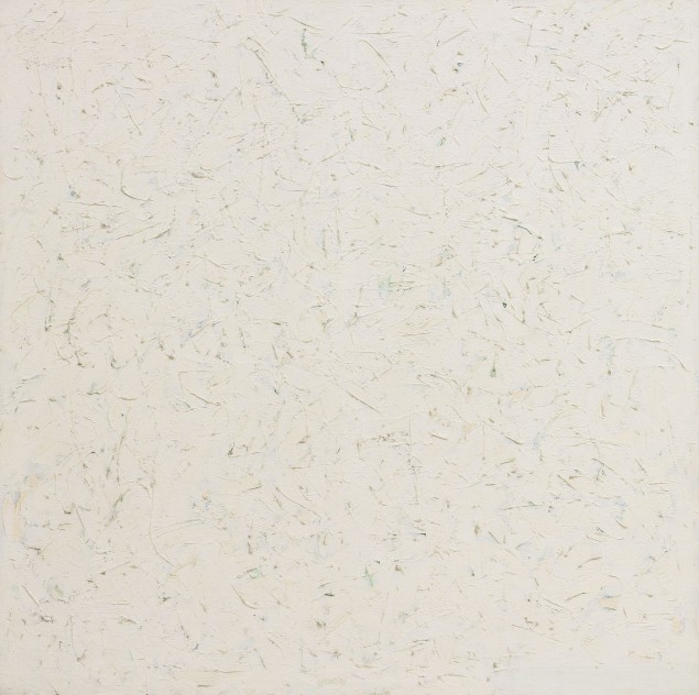 Robert Ryman, Untitled, signed and dated 61; signed four times and dated 61 three times on the overturned left edge, oil on canvas, 48 3/4  x 48 3/4  inches, Est. $15/20 million. (Photo courtesy Sotheby's)