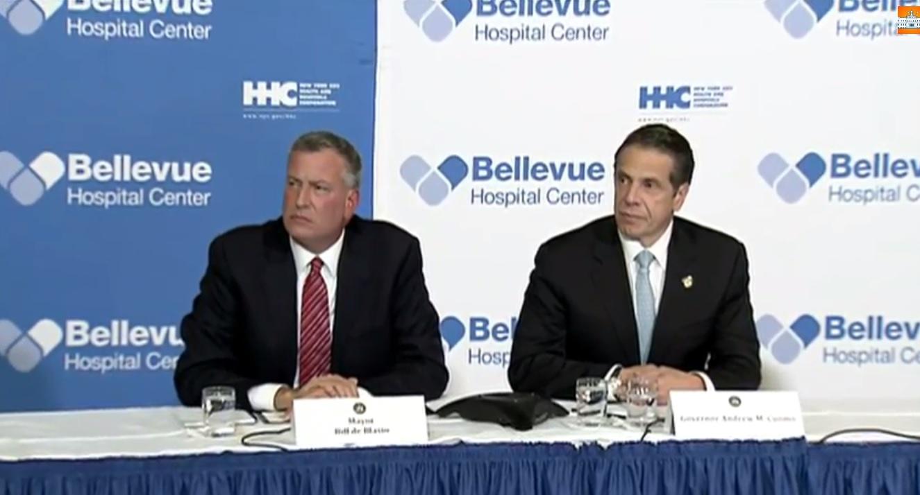Mayor Bill de Blasio and Gov. Andrew Cuomo tonight. (Screengrab: nyc.gov)