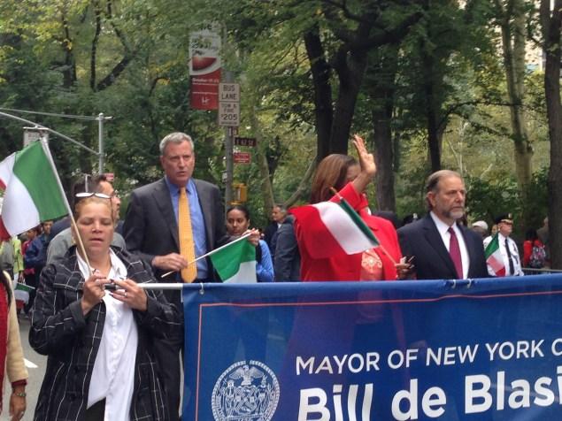 Mayor Bill de Blasio marching in the Columbus Day Parade today. (Photo: Jillian Jorgensen)