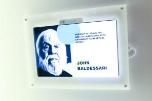 John Baldessari, on a screen, but not present. (Photo courtesy BFA)