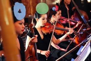The string quartet, with Baldessari color intervention shape hats. (Photo courtesy BFA)