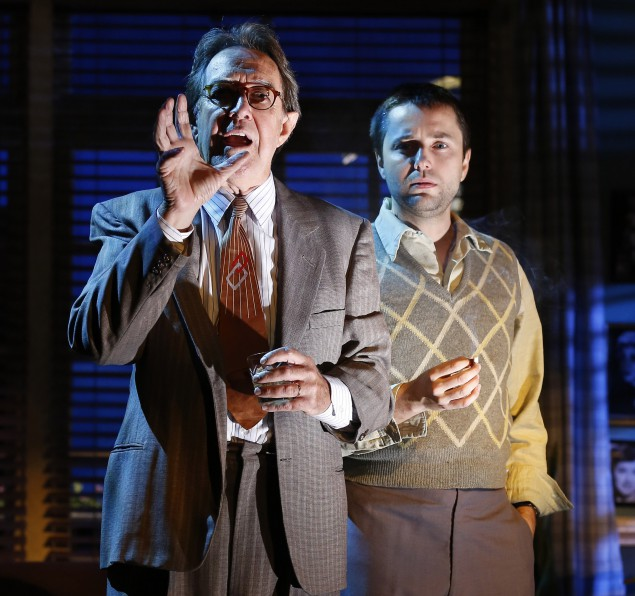Larry Pine as Raymond Chandler and Vincent Kartheiser as Billy Wilder in a scene from Billy & Ray.