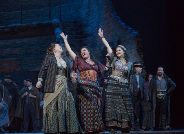 Anita Rachvelishvili (center) as Carmen at the Met Opera. (Photo by Ken Howard and the Metropolitan Opera)