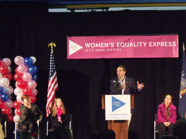 Gov. Andrew Cuomo speaks during a Women's Equality Party rally in Manhattan.