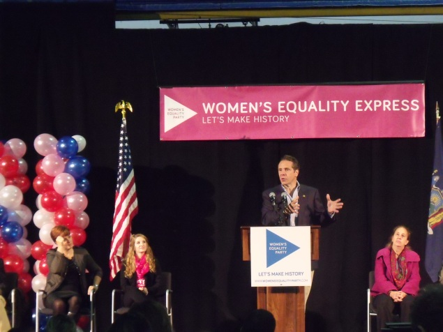 Gov. Andrew Cuomo speaks during a Women's Equality Party rally in Manhattan. (Photo: Jillian Jorgensen)