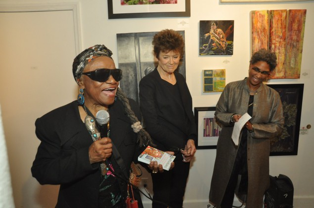 Artists Faith RInggold and Ursula Von Rydingsvard accepting their awards from NAWA president Marie Hines Cowan. (Photo by Bill Stanton)