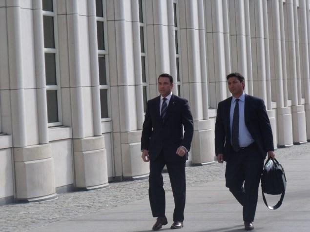 Congressman Michael Grimm and his attorney Jeffrey Neiman walking into federal court in Brooklyn. (Photo: Jillian Jorgensen)