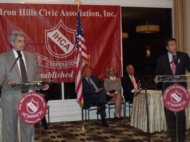Domenic Recchia and Congressman Michael Grimm debate in Staten Island. (Photo: Jillian Jorgensen)