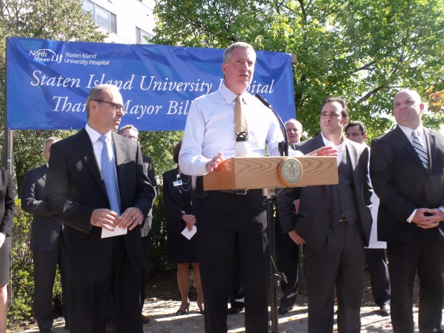 Mayor Bill de Blasio at a Staten Island press conference today.