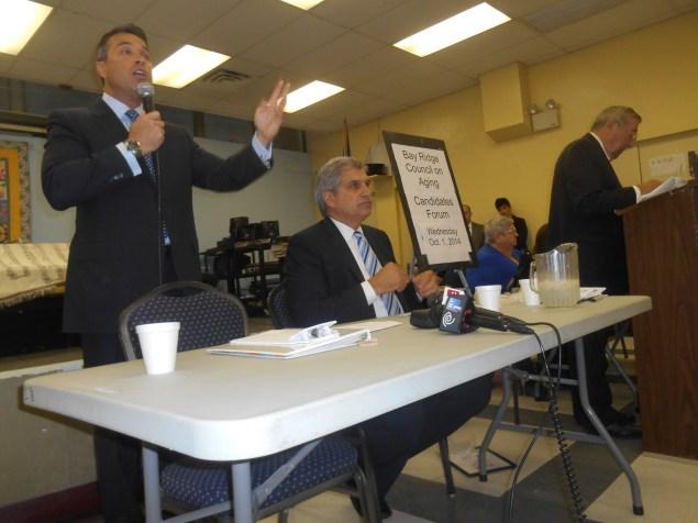 Congressman Michael Grimm and Domenic Recchia today. (Photo: Ross Barkan)