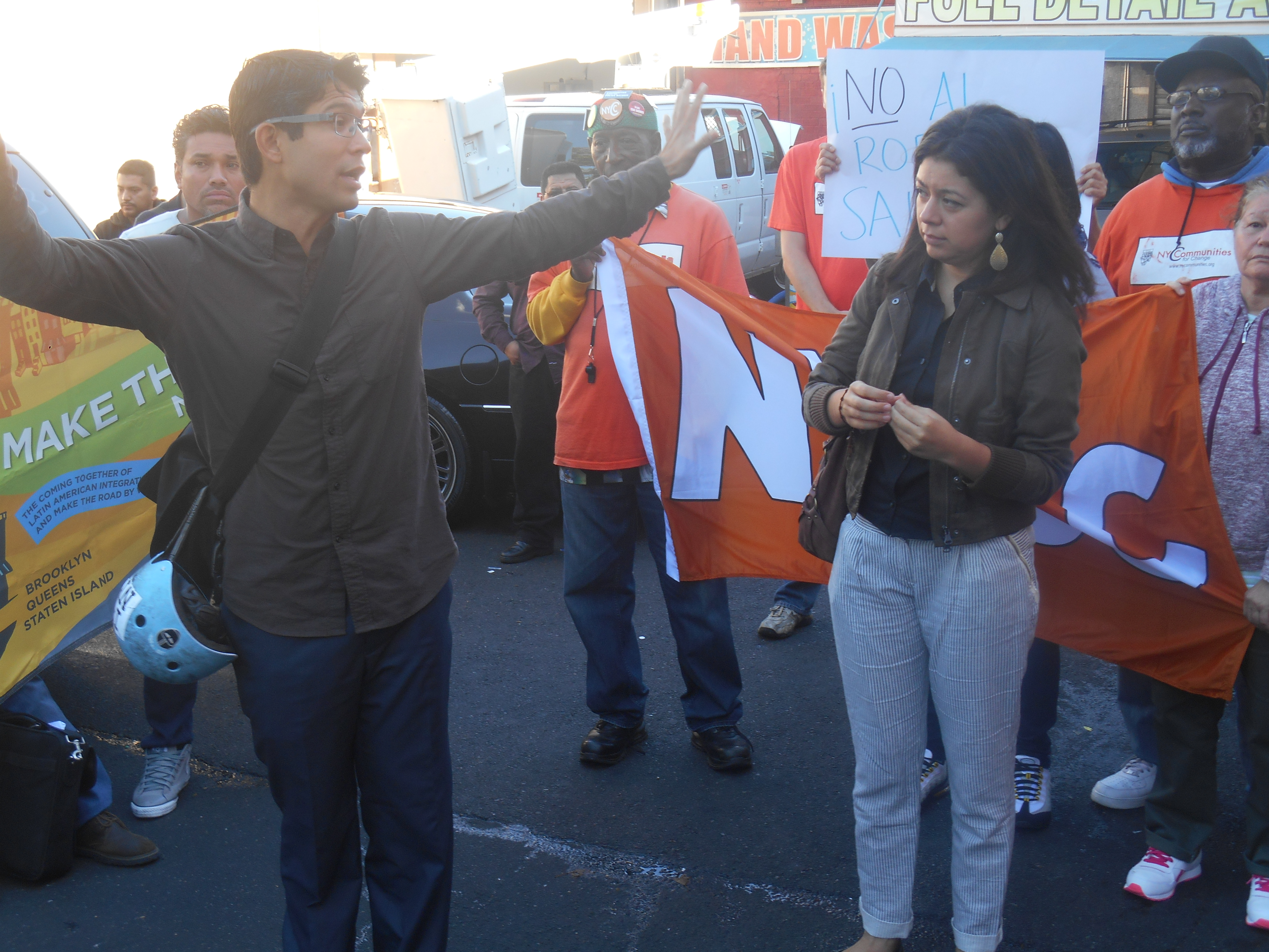 Councilman Carlos Menchaca at a rally for car wash workers yesterday. (Photo: Ross Barkan)