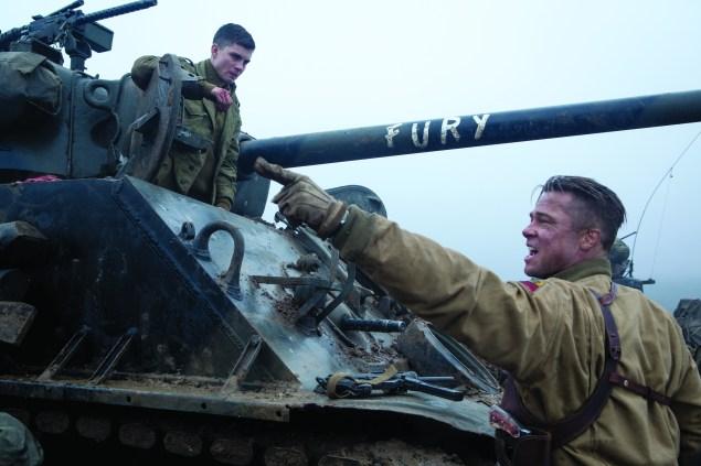 Logan Lerman and Brad Pitt in Fury.