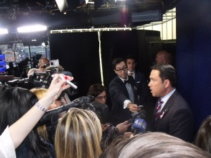 Congressman Michael Grimm in the WABC studios  after the debate. (Photo: Jillian Jorgensen)