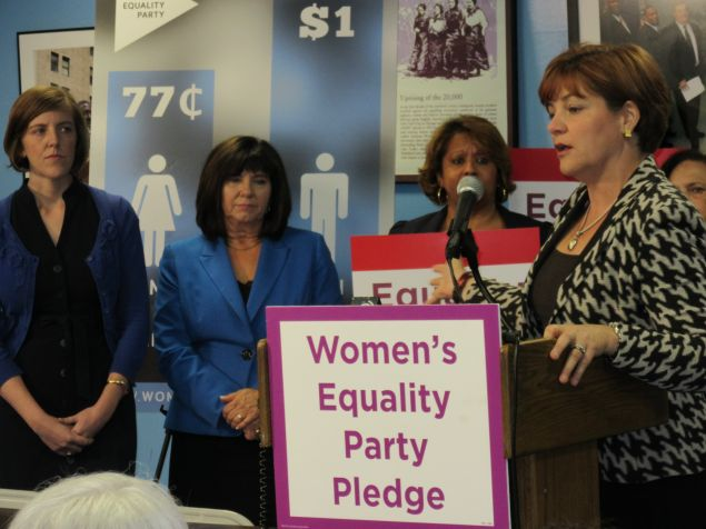 Christine Quinn talks about the new Women's Equality Party line (Photo: Will Bredderman).